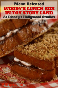 Menu For Woody's Lunchbox In Toy Story Land At Hollywood Studios